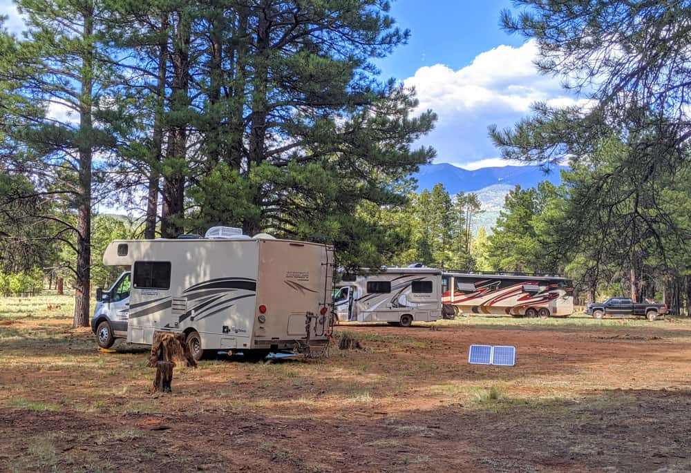 camping in the forest RV